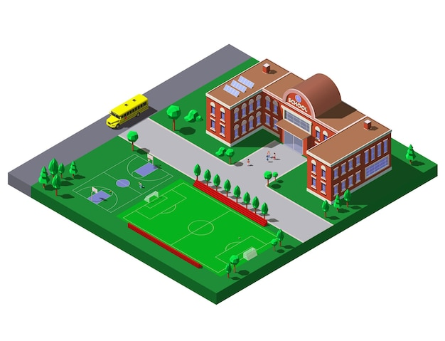 Edificio escolar con cancha de fútbol, tenis y autobús escolar. ilustración isométrica.