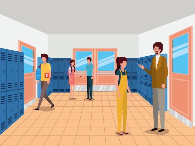 Edificio escolar, educación lección estudio aprendizaje aula e información