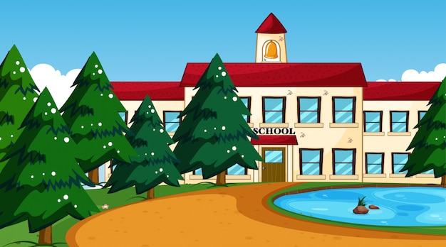 Edificio escolar con escena de estanque