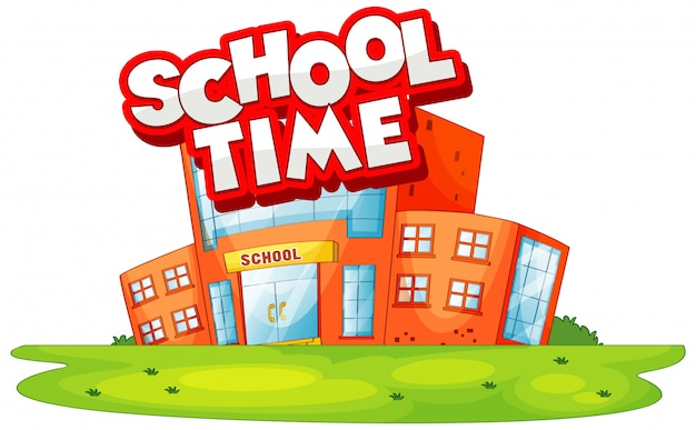 Edificio escolar en la escena con la palabra tiempo escolar