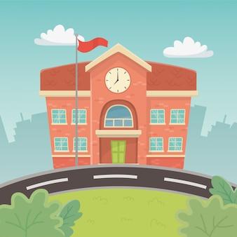 Edificio escolar en la escena.