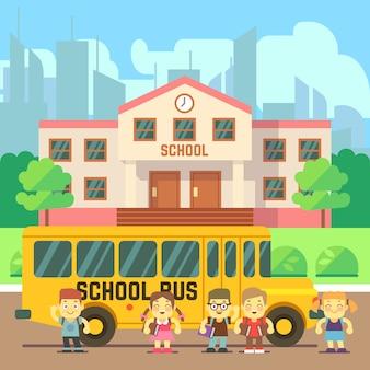 Edificio escolar en estilo plano