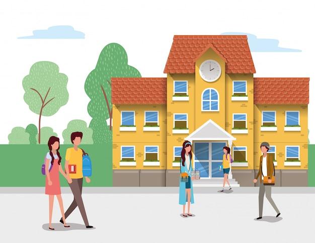 Edificio escolar y estudiantes, lección educativa, estudio, aprendizaje, aula e información