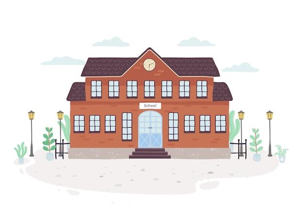 Edificio escolar. exterior de la casa de educación