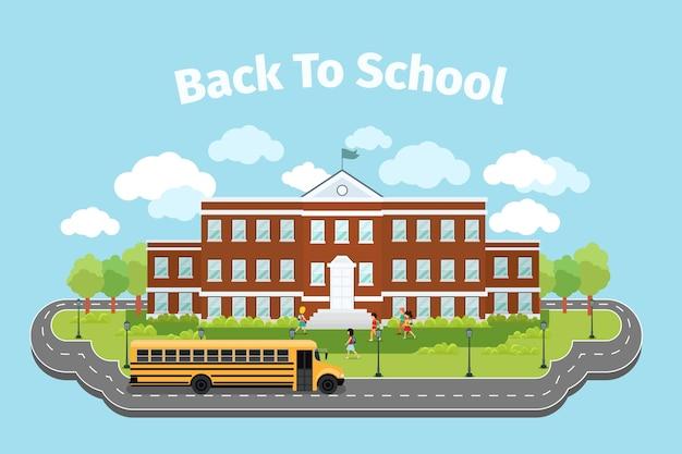 Edificio escolar. fondo con concepto de graduación. campus y escuela, institución y colegio.