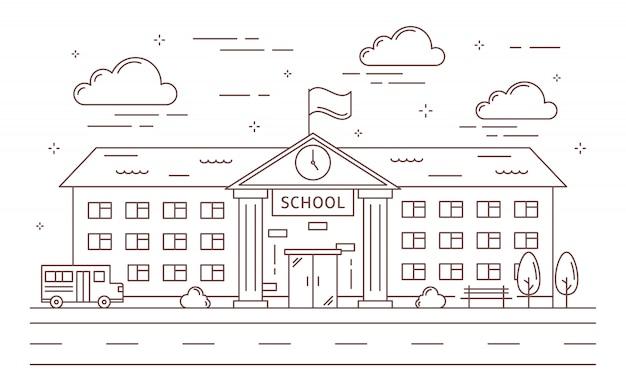 Edificio escolar de línea.