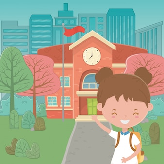 Edificio escolar y niña de dibujos animados