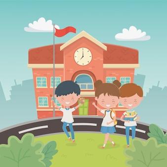 Edificio escolar con niños en la escena.