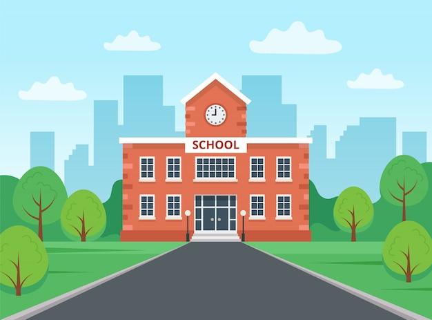 Edificio escolar con paisaje de la ciudad.