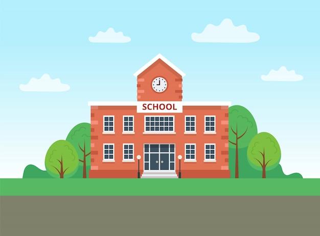 Edificio escolar con paisaje.