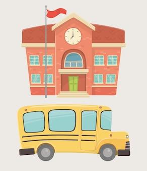 Edificio escolar y transporte en autobús.