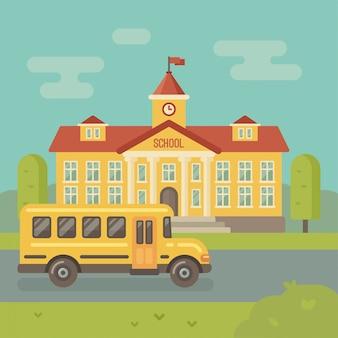 Edificio de la escuela y el autobús escolar amarillo ilustración plana