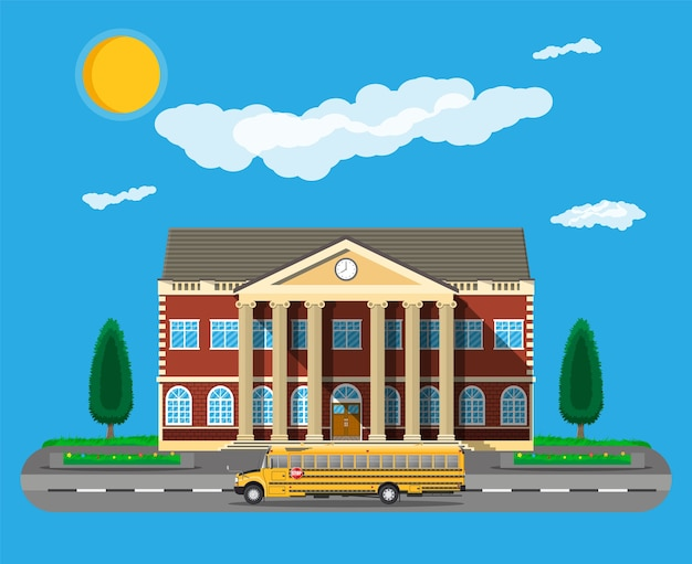 Edificio de la escuela clásica y autobús escolar.