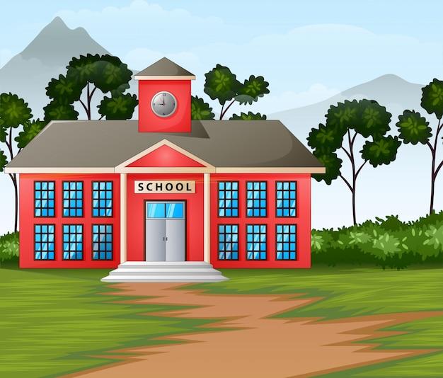 Edificio de la escuela en el fondo de la naturaleza