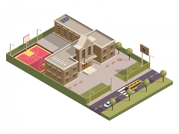 Edificio de la escuela isométrica con tablero de reloj y campo de baloncesto a lo largo de la calle del vehículo.