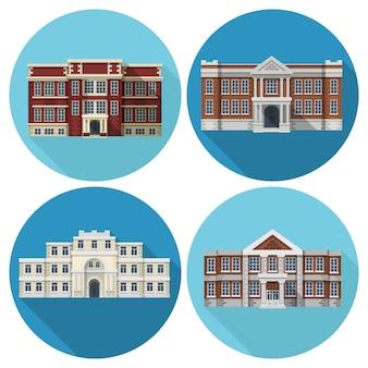 Edificio de la escuela plana