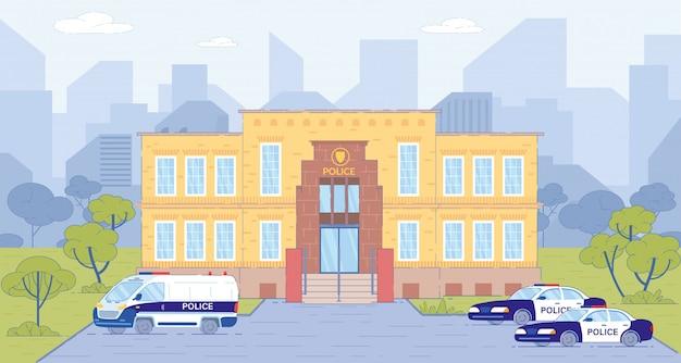 Edificio de la estación de policía con autos