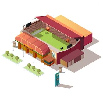 Edificio del estadio de fútbol con taquilla isométrica