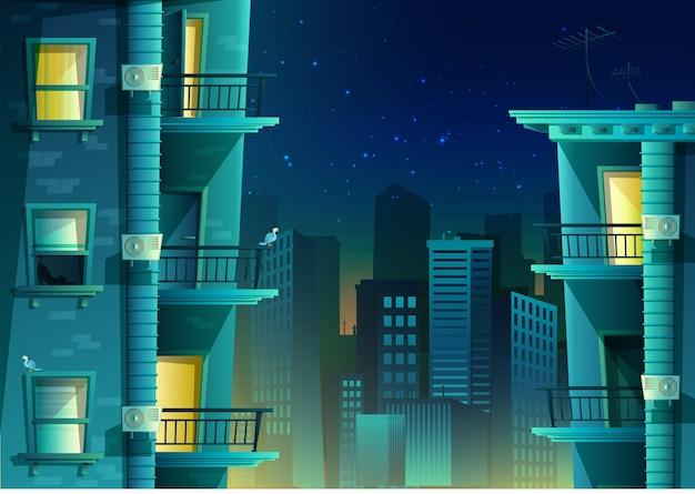 Edificio de estilo de dibujos animados en vista lateral con vistas a una ciudad del centro.