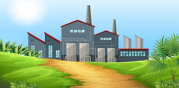 Edificio de la fábrica en el campo