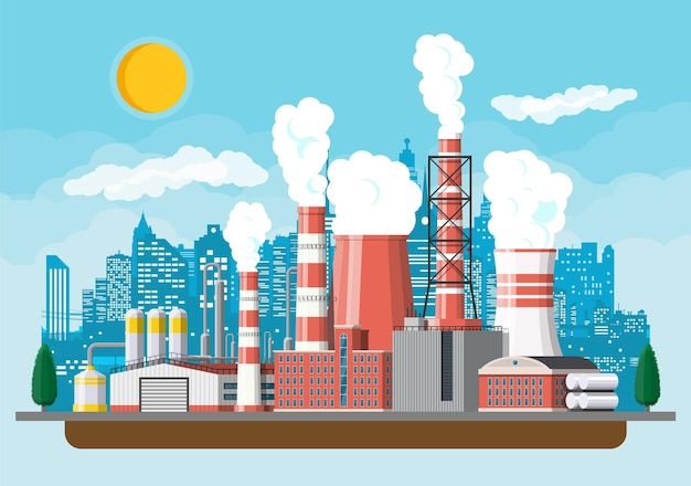Edificio de fábrica. fábrica industrial, planta de energía. tuberías, edificios, almacén, tanque de almacenamiento.