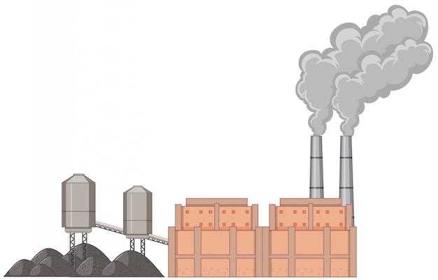 Edificio de fábrica con humo
