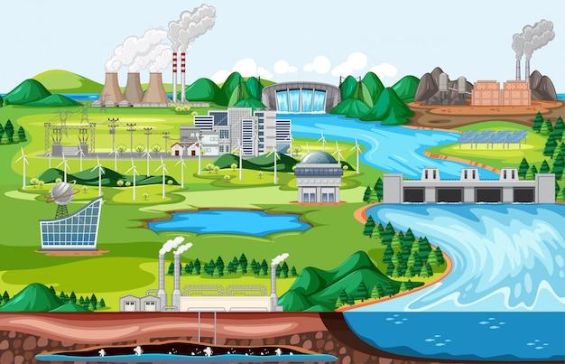 Edificio de fábrica industrial con escena de paisaje al lado del río en estilo de dibujos animados