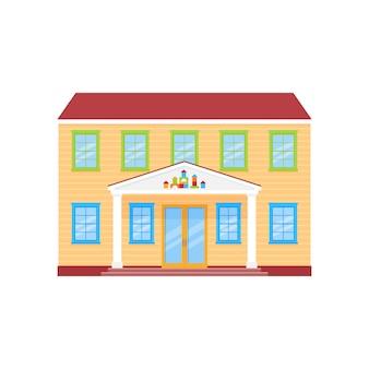 Edificio de fachada de jardín de infantes, vista frontal del edificio de preescolar,