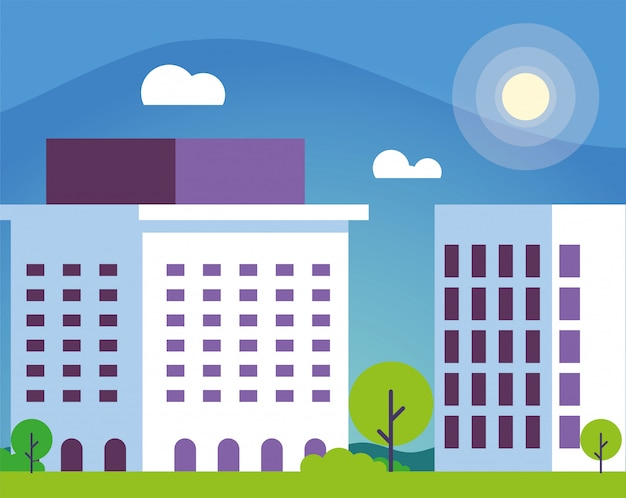 Edificio de financiación bancaria con paisaje urbano