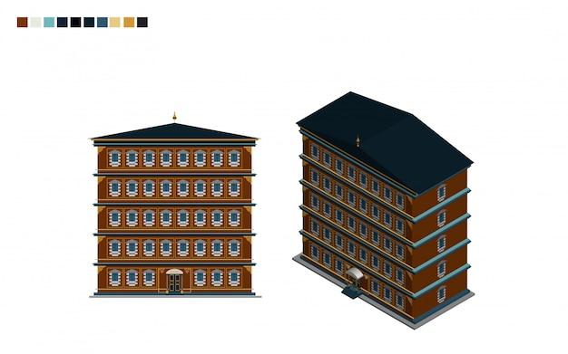 Edificio de gobierno de la casa administrativa isométrica de estilo arquitectónico.