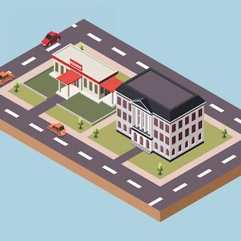 Edificio del gobierno y un restaurante en una ciudad