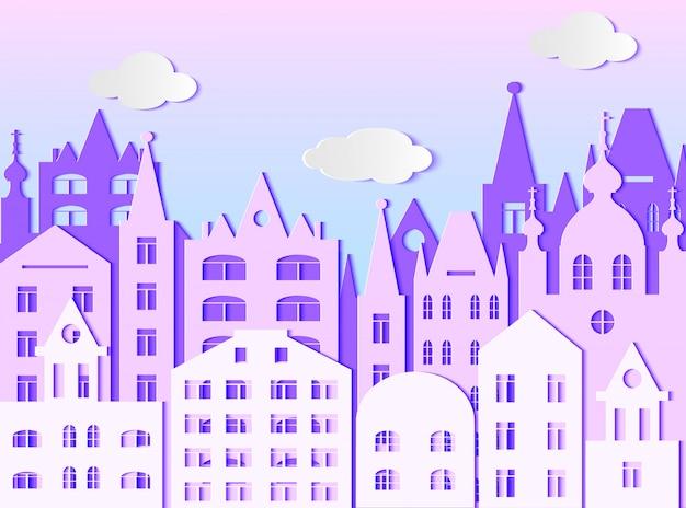 Edificio de gran ciudad y nubes. ilustracion vectorial estilo de arte de papel