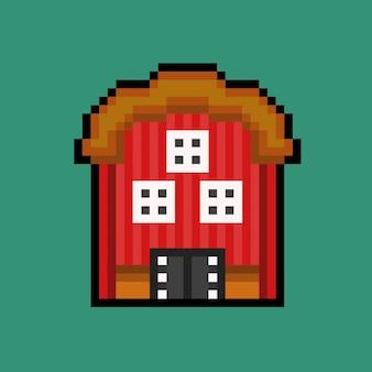 Edificio de granero con estilo pixel art
