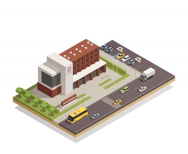 Edificio gubernamental al aire libre isométrico