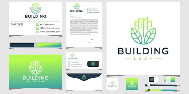 Edificio de hojas y logotipos con papelería.