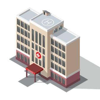 Edificio de hospital y ambulancia.