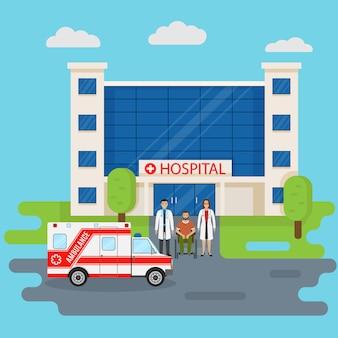 Edificio del hospital en estilo plano con dos médicos y paciente discapacitado cerca de la entrada. concepto médico