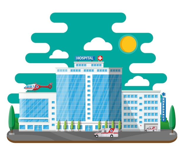 Edificio del hospital, icono médico. diagnóstico sanitario, hospitalario y médico. servicios de urgencia y emergencia. coche y helicóptero.