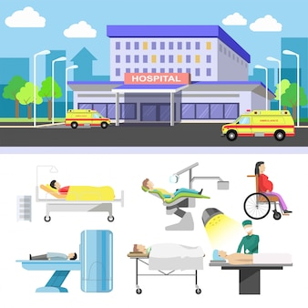 Edificio del hospital y los iconos de pacientes médicos vector plano conjunto