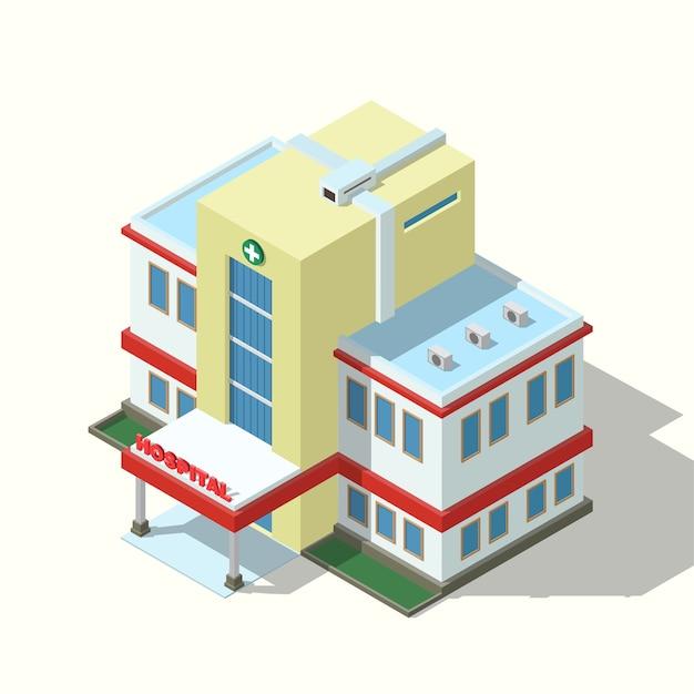 Edificio del hospital isométrico aislado
