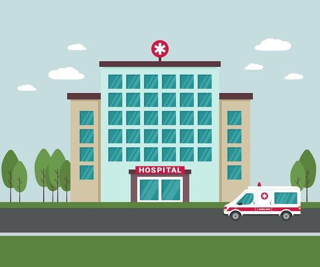 Edificio del hospital médico en el exterior. un coche de ambulancia junto al edificio del hospital. vista exterior del centro médico aislado con árboles y nubes en el fondo. ilustración vectorial plana