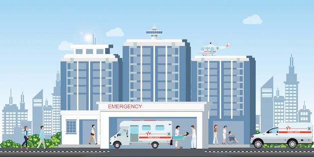 Edificio hospitalario con ambulancia de coches y emergencia médica helicóptero helicóptero médico.