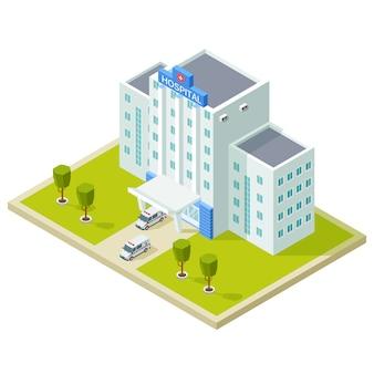 Edificio hospitalario isométrico y ambulancias