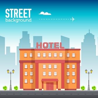 Edificio del hotel en el espacio de la ciudad con carretera en concepto de fondo de estilo plano