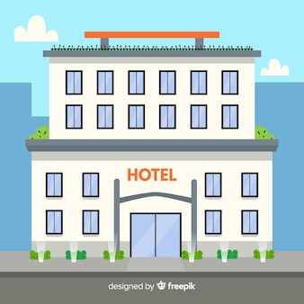 Edificio de hotel de lujo de diseño plano