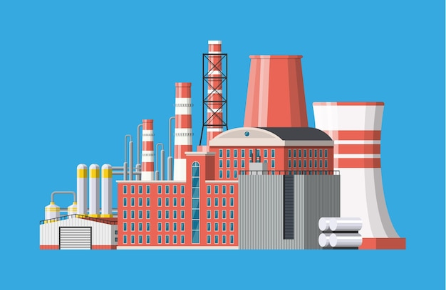Edificio de icono de fábrica. fábrica industrial, planta de energía. tuberías, edificios, almacén, tanque de almacenamiento.
