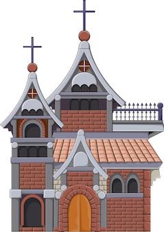 Edificio de la iglesia embrujada aislado sobre fondo blanco.