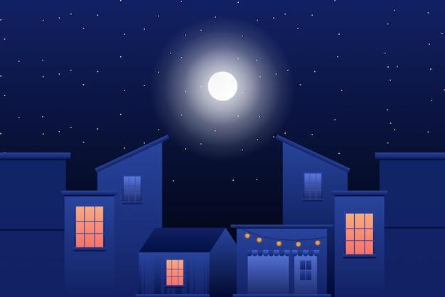 Edificio con ilustración de cielo nocturno estrellado