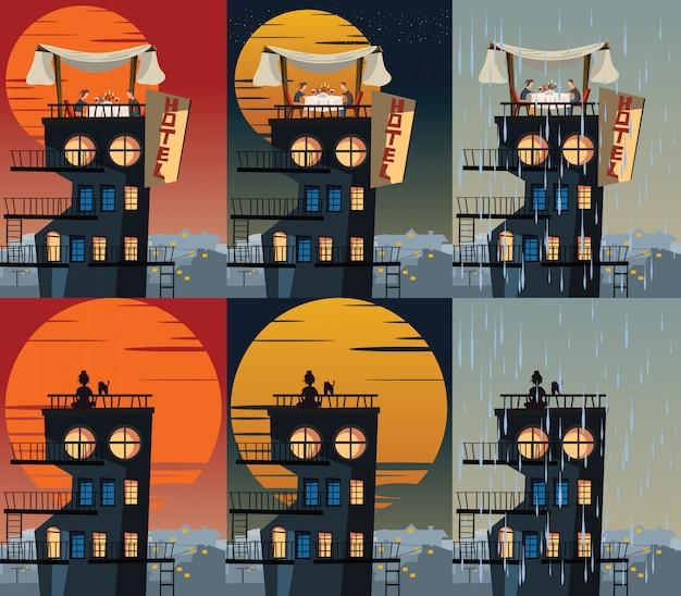 Edificio en la ilustración de vector de tiempo diferente