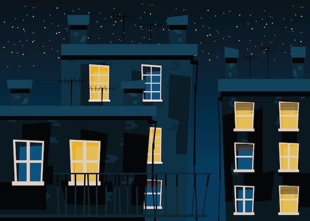 Edificio en la ilustración vectorial de noches